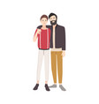 pair of young men dressed in stylish clothing vector image vector image