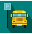 Parking sign and yellow bus icon flat style vector image vector image