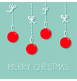 Red hanging christmas balls Dash line with bows vector image vector image