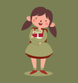 School Girl Holding a Gift vector image