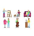 set different types hobbies vector image vector image