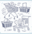 set icons carts and baskets and the inscription vector image vector image