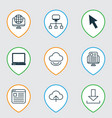 set of 9 internet icons includes website page vector image vector image
