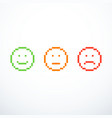 set of pixel emoticon icons vector image