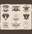 set retro cricket sports template logo designs vector image