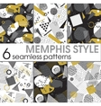 set six seamless patterns in memphis style vector image
