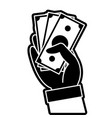 silhouette hand with bills cash money currency vector image vector image