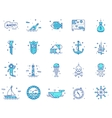 Summer travel pirate icons set vector image
