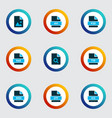 types icons colored set with open type file rar vector image vector image