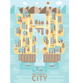 Waterfall city blue brown and orange tone concept vector image vector image