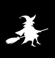 white silhouette of witch fly on broomstick vector image vector image