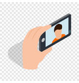 young man taking selfie photo isometric icon vector image vector image