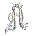 Zentangle monogram A Doodle colorful alphabet vector image