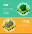 bushes and flowers for park design posters vector image