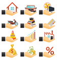 Loan Hands with Objects Credit vector image
