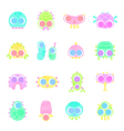 set of simple minimal flat monster characters vector image
