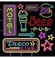 Neon Signboard Disco Club Beer Pub Design Flat vector image