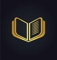 open book education gold logo vector image