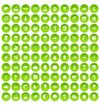 100 nature icons set green circle vector image vector image