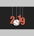 2019 new year and baseball ball hanging on strings vector image