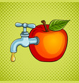 apple fruit with tap pop art vector image