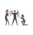 armed police officer arrested bank robber police vector image vector image