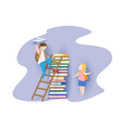 back to school card with boy books and girl vector image vector image