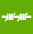 barbed wire icon green vector image vector image