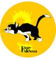 black cat halloween vector image vector image