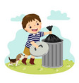 boy taking out trash vector image vector image