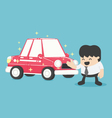 Businessman standing next to new car red vector image vector image