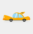 cartoon yellow taxi vector image vector image