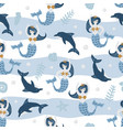 childish seamless pattern with cute dolphin and vector image