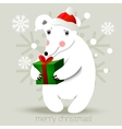 Christmas bear background vector image vector image
