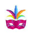 colombina carnival mask with feathers flat vector image vector image