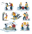 couple hiking and backpacking camping and rafting vector image vector image
