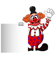 cute clown cartoon with blank sign vector image