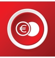 Euro coin icon on red vector image vector image