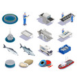 fish industry isometric icons vector image