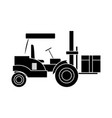 forklift loaded with cardboard box logistics and vector image vector image