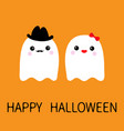 ghost spirit family couple with lips mustaches vector image vector image