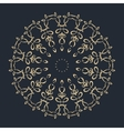 Gold round ornament pattern on black background vector image