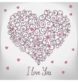 Greeting card with floral heart shape I love You vector image vector image