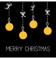 Hanging christmas balls Dash line with bows Merry vector image vector image