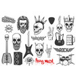 hard rock music icons heavy metal signs vector image vector image
