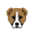 head alabai dog in pixel art style vector image