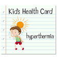 Health card with boy having hyperthermia vector image vector image