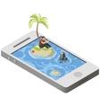Isometric tropical desert island on smartphone vector image
