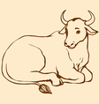 lying cow with big horns vector image vector image