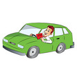 man driving car and showing rap sign vector image vector image